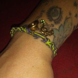 Handmade purple and green Riddler bracelet